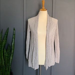 chelsea and theodore grey knit cardigan
